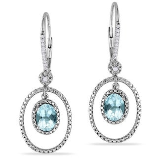 Miadora Silver Aquamarine and 1/8ct TDW Diamond Earrings (G-H, I2-I3)