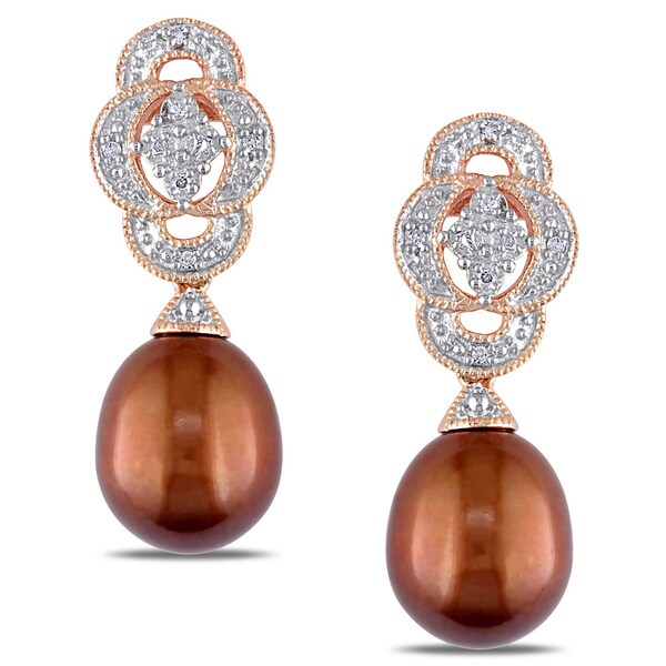 Miadora Pink Silver Diamond and Freshwater Pearl Earrings (G-H, I2-I3)