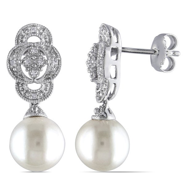 Miadora Sterling Silver FW Pearl and Diamond Accent Dangle Earrings (G-H, I3)