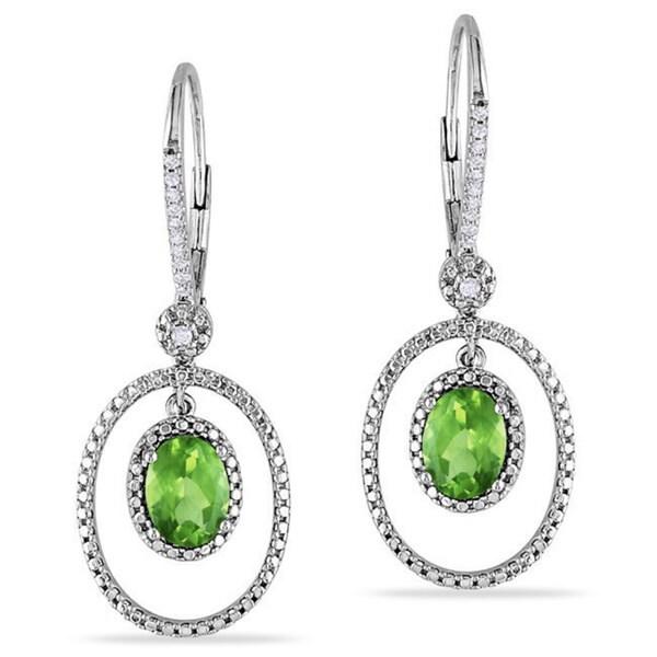 Miadora Silver Peridot and 1/8ct TDW Diamond Earrings (G-H, I2-I3)
