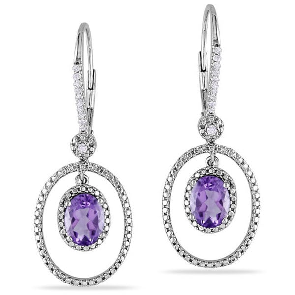 Miadora Silver Amethyst and 1/8ct TDW Diamond Earrings (G-H, I2-I3)