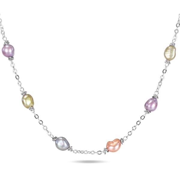 Miadora Silvertone Freshwater Multi-colored Pearl Chain Necklace (8-9 mm)