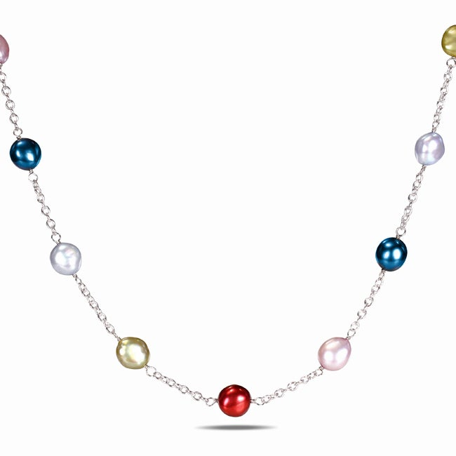 Miadora Silvertone Freshwater Multi-colored Pearl Chain Necklace (8-9 mm)