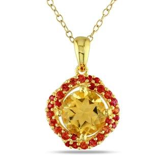 Miadora Yellow Silver Citrine and Orange Sapphire Fashion Necklace