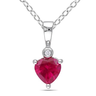 Miadora Sterling Silver Created Ruby and Diamond Heart Necklace (G-H,I)