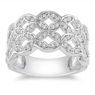 Miadora Sterling Silver 1/2ct TDW Diamond Ring