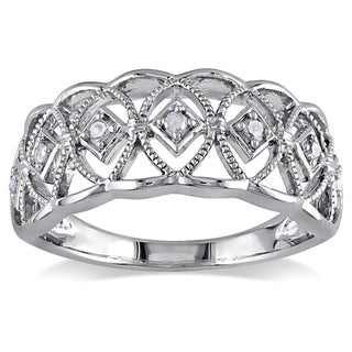 Miadora Sterling Silver 1/10ct TDW Round-cut Diamond Ring (More options available)