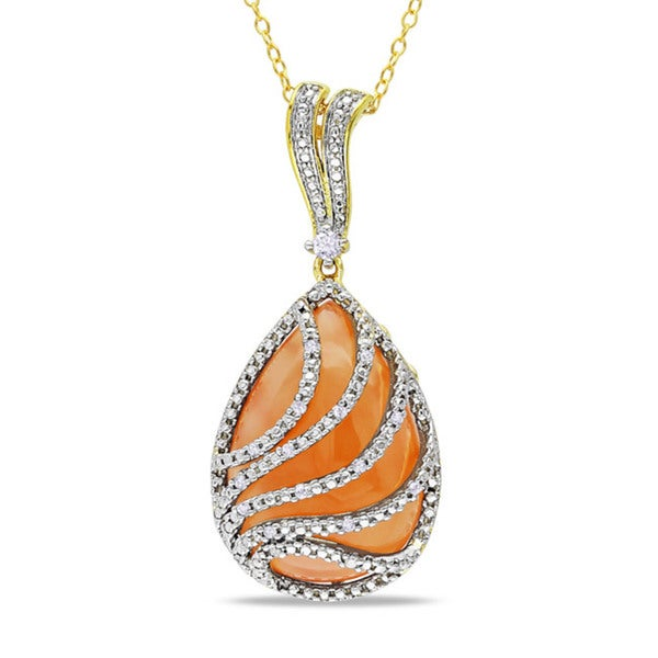 Miadora Silver Moonstone and 1/10ct TDW Diamond Necklace (G-H, I2-I3)