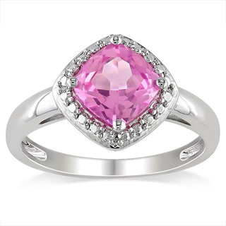 Miadora Sterling Silver 2ct TGW Created Pink Sapphire Fashion Ring