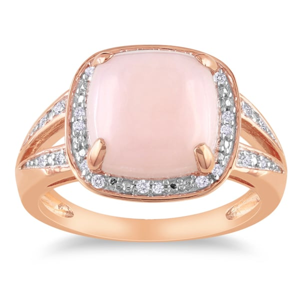 Miadora Pink Silver 5ct TGW Opal 1/10ct TDW Diamond Ring (G-H, I2-3)