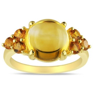 Miadora 18k Yellow Silver Plate over Sterling Silver Multi-citrine Cocktail Ring
