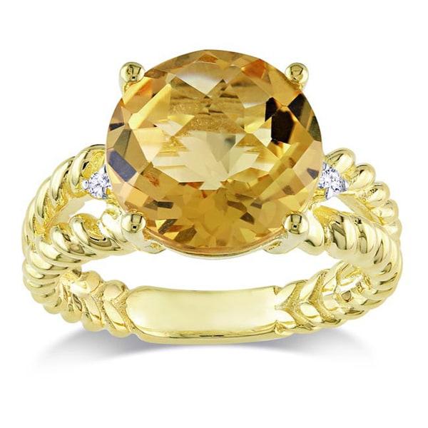 Miadora Yellow Silver Citrine and Diamond Accent Cocktail Ring