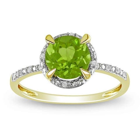 Miadora 10k Yellow Gold 1-1/2ct TGW Peridot and Diamond Halo Ring - Green