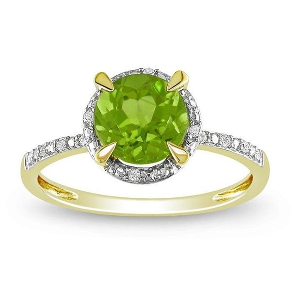 Miadora 10k Yellow Gold 1-1/2ct TGW Peridot and Diamond Halo Ring (G-H, I2-I3)