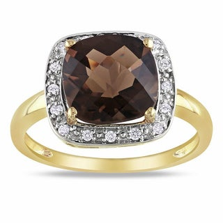 Miadora 10k Yellow Gold 3ct TGW Smokey Quartz 1/10ct TDW Diamond Ring (G-H, I2-3)