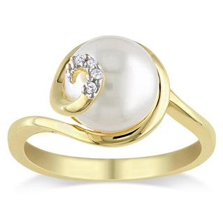 Miadora Gold Over Sterling Silver Freshwater Pearl and Diamond Accent Ring