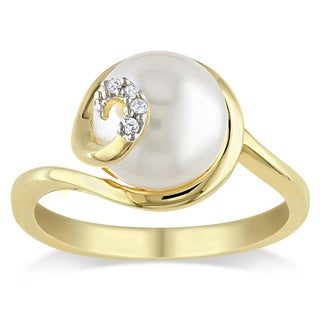 Miadora Gold Over Silver Freshwater Pearl and Diamond Accent Ring