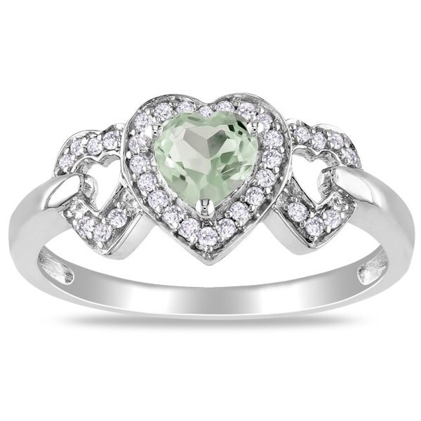 Miadora 10k White Gold Green Amethyst and 1/8ct TDW Diamond Ring (G-H, I2-I3)
