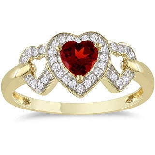Miadora 10k Yellow Gold Garnet and 1/8ct TDW Diamond Heart Ring (G-H, I2-I3)