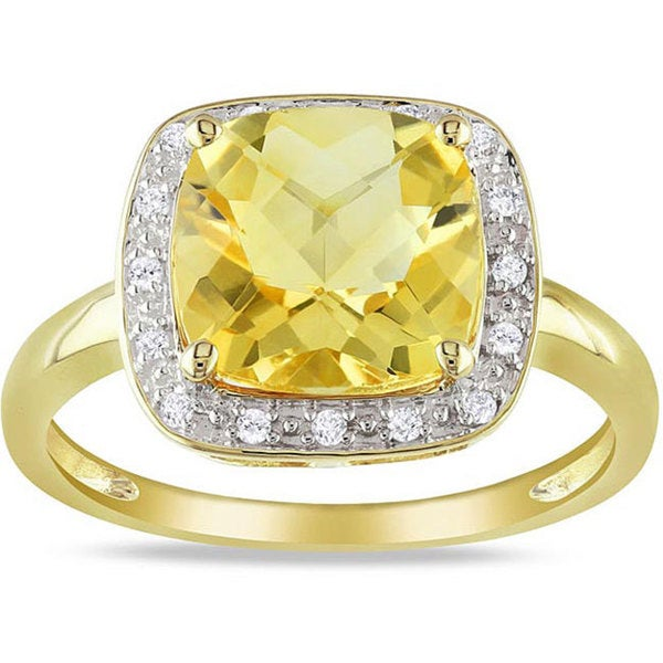 Miadora 10k Yellow Gold Citrine and 1/10ct TDW Diamond Ring (G-H, I2-3)