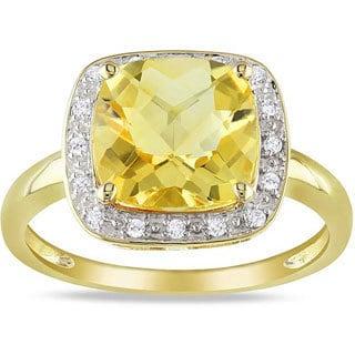 Miadora 10k Yellow Gold Citrine and 1/10ct TDW Diamond Ring (G-H, I2-3)
