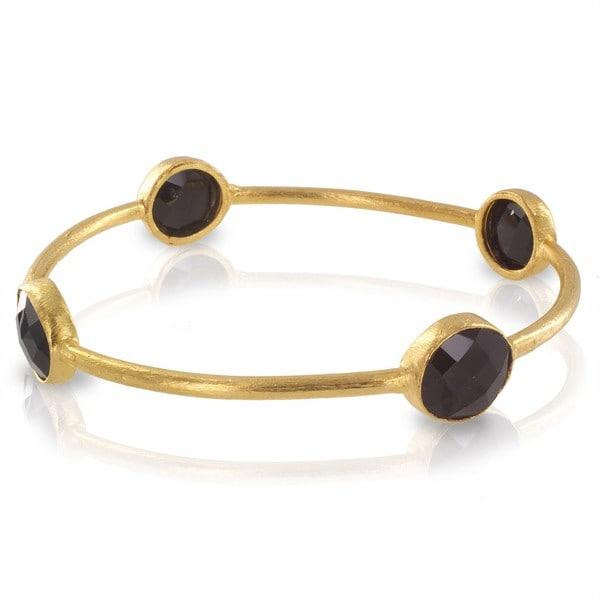 West Coast Jewelry ELYA Designs 22K Goldplated Black Onyx Bangle Bracelet