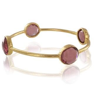 ELYA 22K Goldplated Pink Quartz Bangle Bracelet