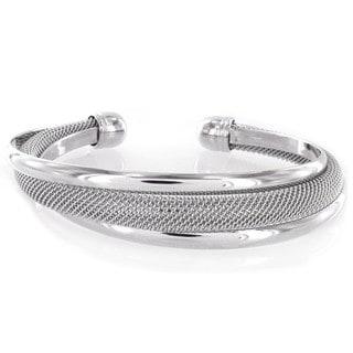 West Coast Jewelry Modernized Silver High-polished and Mesh Cuff Metal Bracelet