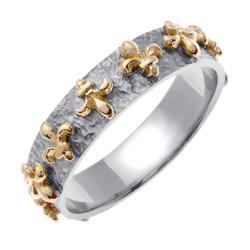14k Two-tone Gold Men's Fleur de Lis 9mm Wedding Band
