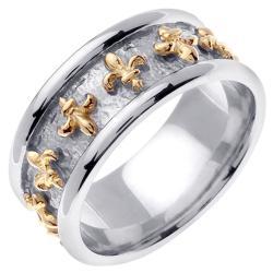 14k Two-tone Gold Men's Fleur de Lis Wedding Band - Thumbnail 1