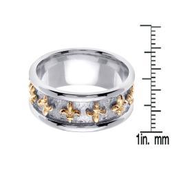 14k Two-tone Gold Men's Fleur de Lis Wedding Band - Thumbnail 2