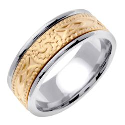 14k Two-tone Gold Men's 8mm Celtic Wedding Band - Thumbnail 1