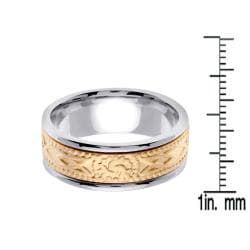 14k Two-tone Gold Men's 8mm Celtic Wedding Band - Thumbnail 2