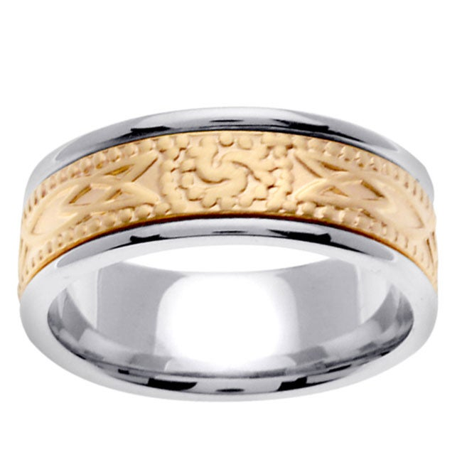 14k Two-tone Gold Men's 9mm Celtic Wedding Band
