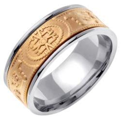 14k Two-tone Gold Men's 9mm Celtic Wedding Band - Thumbnail 1
