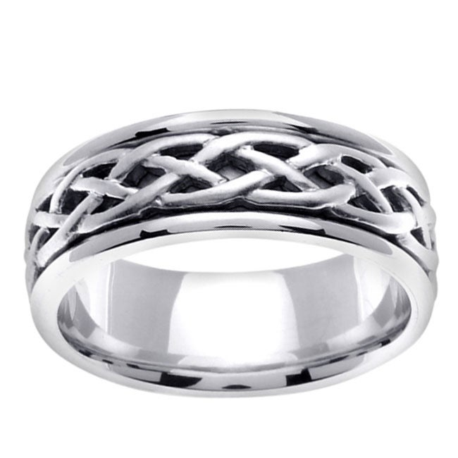14k White Gold Men X27 S Celtic Wedding Band