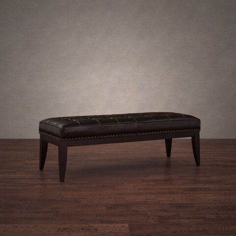 Pine Canopy Valencia Dark Brown Leather Nailhead Bench