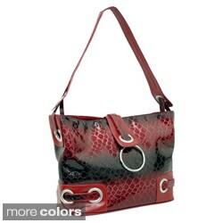 Dasein Patent Leatherette Embossed Snake Skin Hobo Bag