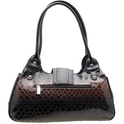 Dasein Leatherette Embossed Alligator Skin Shoulder Bag with Silvertone Hardware
