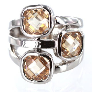 West Coast Jewelry Silvertone Champagne Crystal 3-stone Fashion Ring