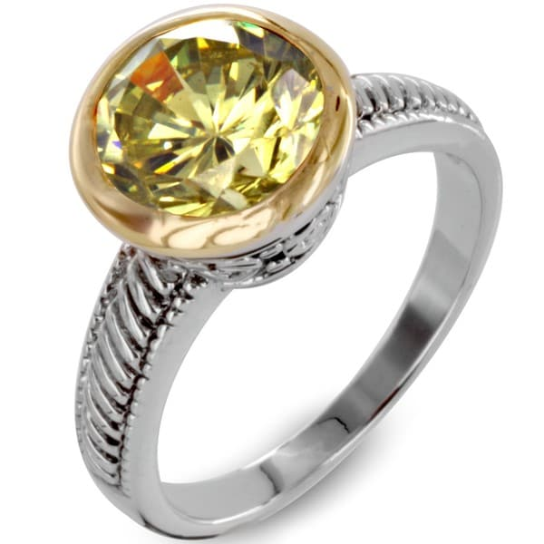 West Coast Jewelry Two-tone Green Cubic Zirconia Antiqued Ring