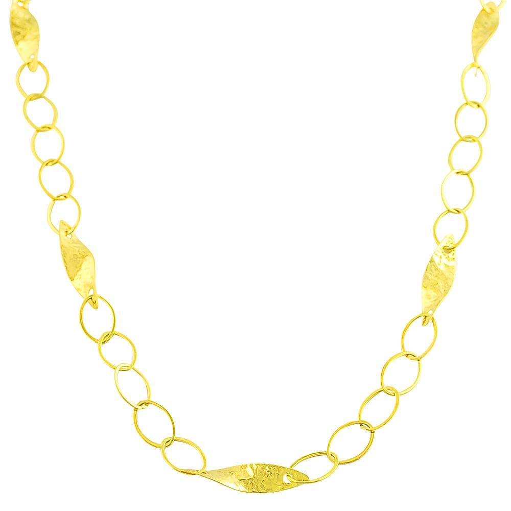Fremada 14k Yellow Gold Hammered Leaves Station Necklace