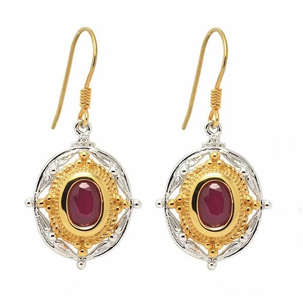 De Buman Sterling Silver Ruby and Diamond Earrings