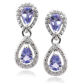 De Buman Sterling Silver Blue Tanzanite Earrings