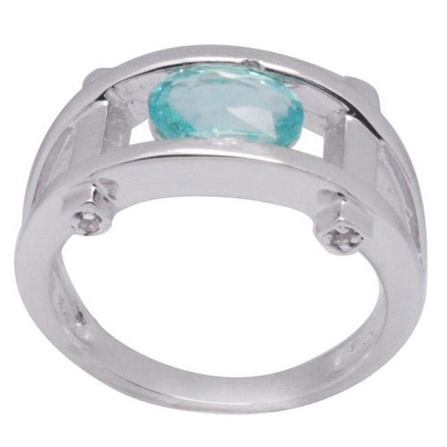 De Buman Sterling Silver Apatite and White Topaz Ring