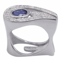 De Buman Sterling Silver Sapphire and White Topaz Accented Ring