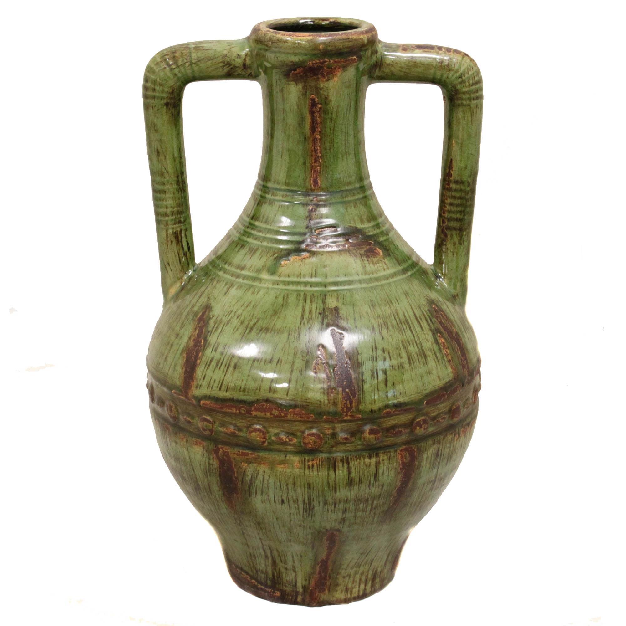 Casa Cortes 18 Inch Double Handle Ceramic Vase Free