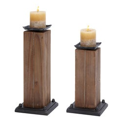 Rustic Serenity Candle Holders (Set of 2)