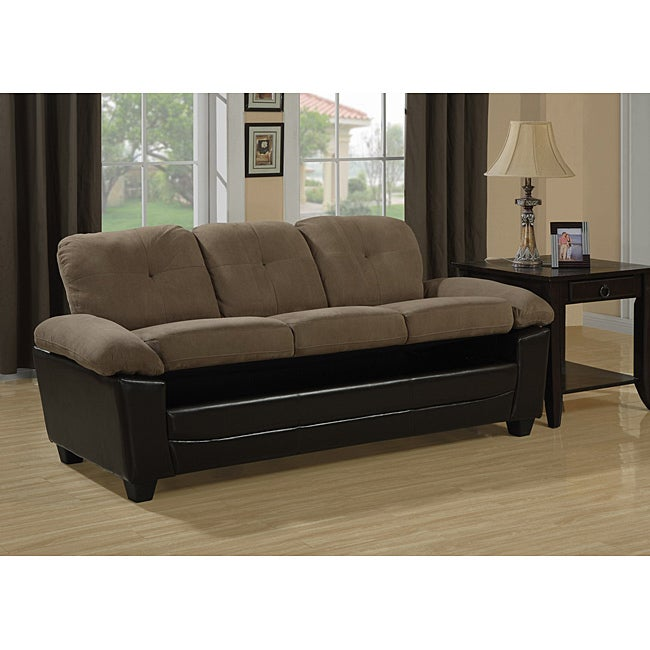 Brown Microfiber Leather Look Sofa With Storage Free