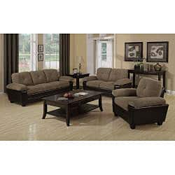 Brown Microfiber/ Leather-look Sofa with Storage   Overstock.com Shopping -  The Best Deals on Sofas & Couches